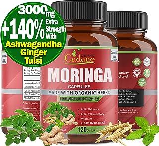 Organic Moringa Powder Capsules 3000mg with Ashwagandha, Ginger, Tulsi Extract   Multi Nutrition Vitamin Oleifera Leaf   S...