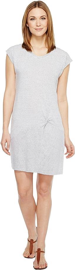 Pinstripe Jersey Asymmetrical Twist Front T-Shirt Dress