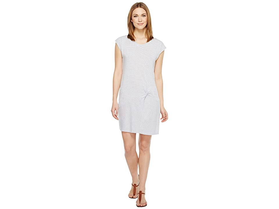 Mod-o-doc Pinstripe Jersey Asymmetrical Twist Front T-Shirt Dress (White) Women