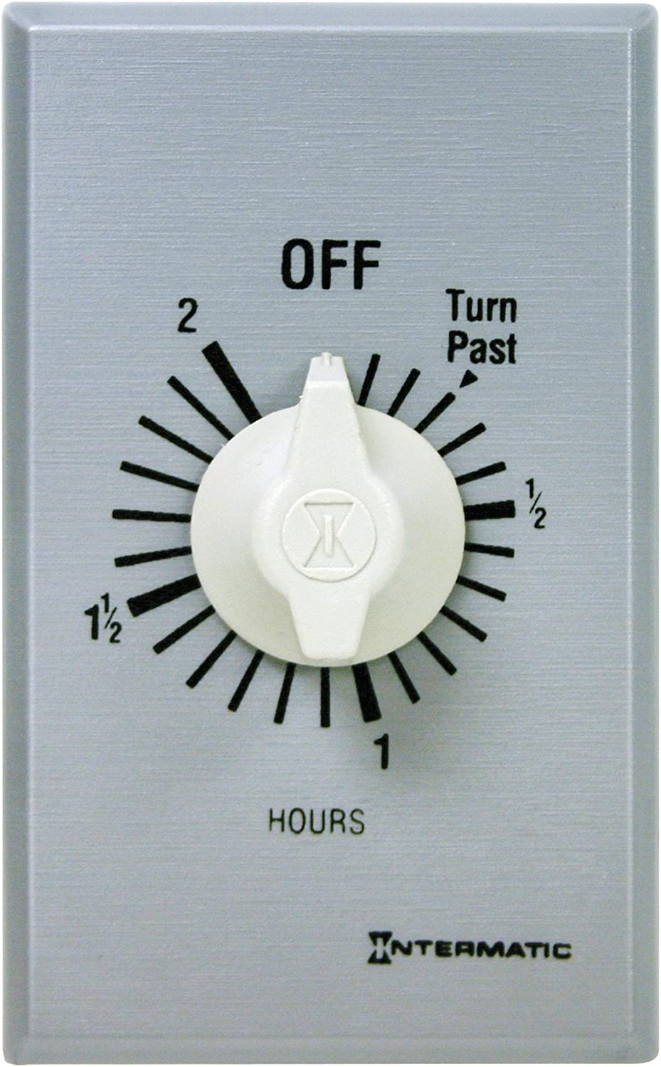 Intermatic FF32H 2-Hour Spring Loaded Wall Timer, Brushed Metal