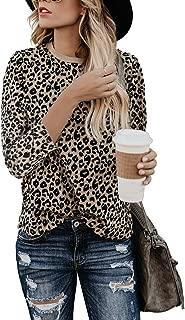 Women's Casual Cute Shirts Leopard Print Tops Basic Long Sleeve Soft Blouse