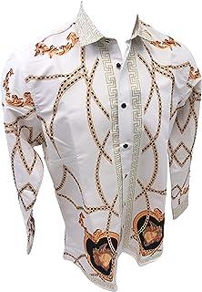 Men's Premiere Designer Fashion Dress Shirt Casual Shirt Woven Long Sleeve Button Down Shirt