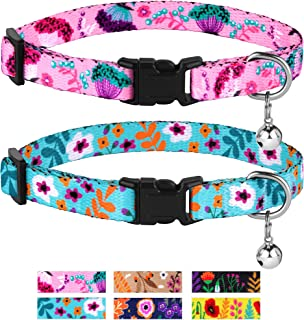 CollarDirect Cat Collar with Bell Floral Pattern 2 Pack Set Flower Adjustable Safety Breakaway Collars for Cats Kitten