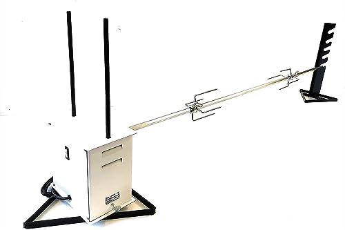 Asta Spiedo per Girarrosto cm 70 Triangolare con Fermacarne ed Impugnatura Asta Spiedo Universale Girarrosto Barbecue Grill Forno
