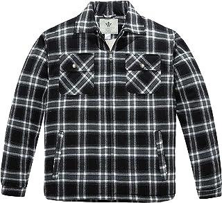 WenVen Men's Flannel Jacket Zip Up Fleece Sherpa Heavy Lined Shirt