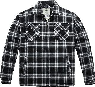 Men's Flannel Jacket Zip Up Fleece Sherpa Heavy Lined Shirt