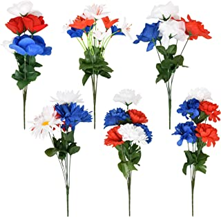 Patriotic Artificial Flower Bouquet Set of 6 Silk Floral Memorial Day Flowers Arrangement Cemetery Grave Decor Holiday Roses Red White and Blue America Fourth of July Veterans Day Decorations 15