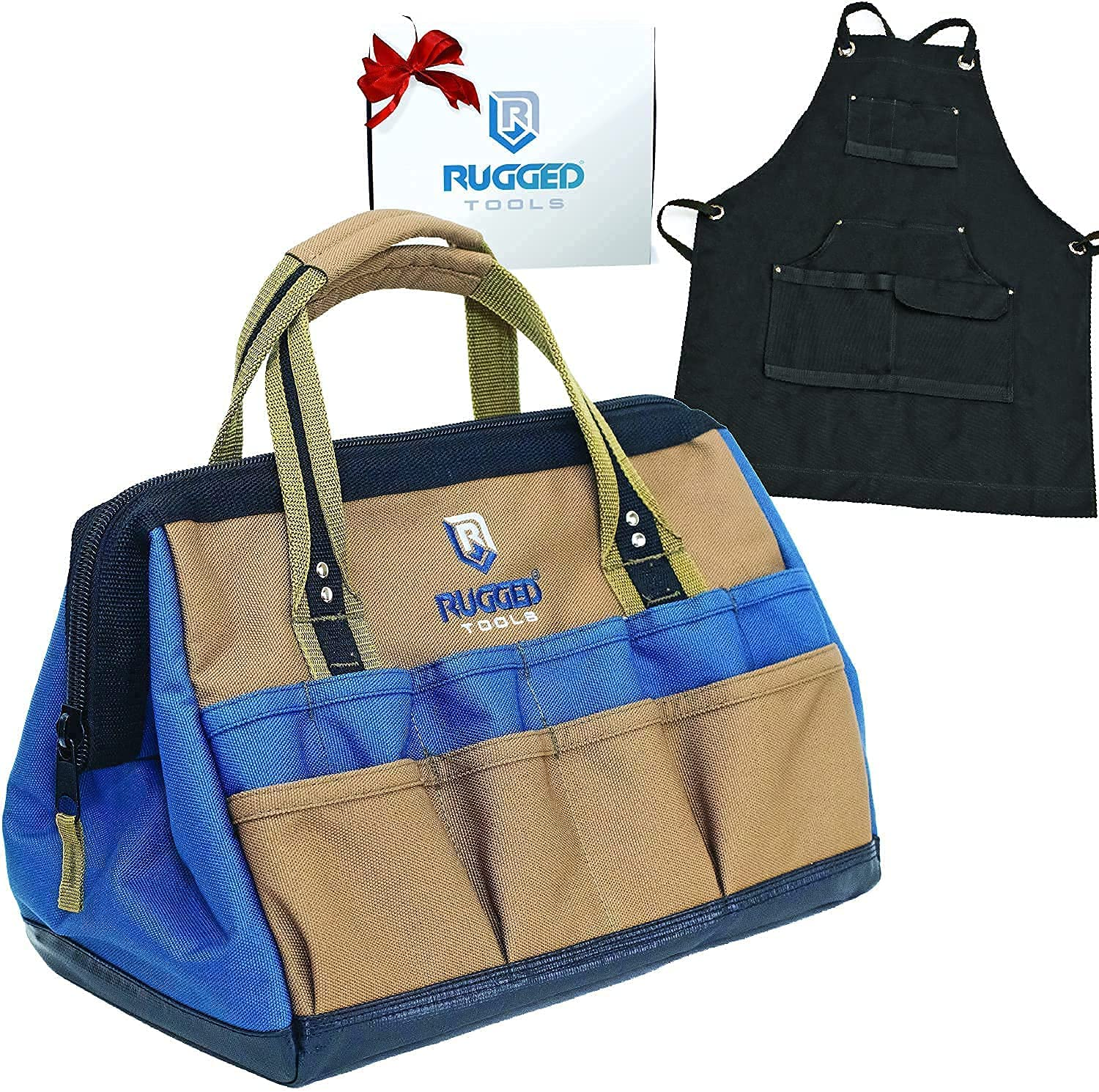 Rugged Tools Heavy-Duty Wide-Mouth Tool Bag + Canvas Work Apron