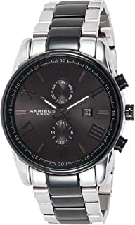 Akribos Xxiv Men's Black Dial Stainless Steel Band Watch - Ak812Ttb, Analog Display, Swiss Quartz Movement