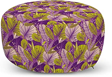 Ambesonne Vibrant Ottoman Pouf, Continuous Rain Forest Botanical Leaves Illustration, Decorative Soft Foot Rest with Removabl