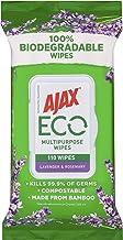 Ajax Eco Antibacterial Disinfectant Surface Cleaning Wipes, Bulk 110 Pack, Lavender & Rosemary, Multipurpose, Biodegradabl...