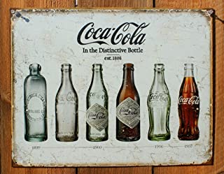 Retro Vintage Sign for Wall Decor | Coca Cola Bottle Collection History 8 x 12 in | Home Garage Kitchen Room Decoration …