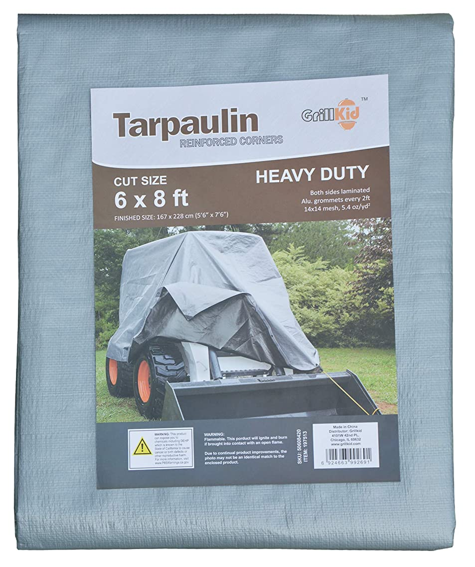 Grillkid 6'X8' Heavy Duty 10 Mil Thick Waterproof Poly Tarp