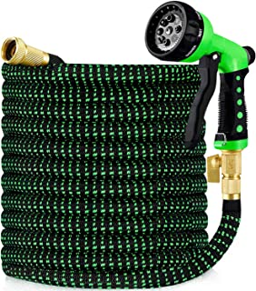 """HBlife 50ft Garden Hose, Expandable Water Hose with 3/4"""" Solid Brass Fittings, 8 Functions Water Spray Nozzle"""