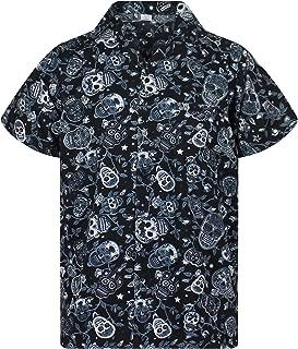 Funky Hawaiian Shirt for Men Short Sleeve Front-Pocket Sugar Skulls Multi Colors