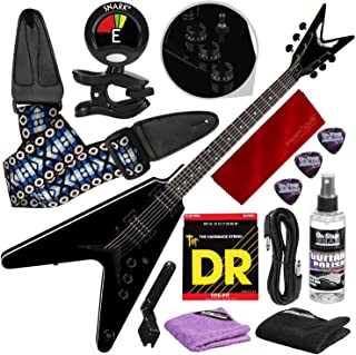 Dean VX Electric Guitar, Bolt On, Classic Black with Clip-On Tuner & Care Kit Accessory Bundle