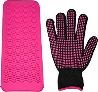 Silicone Styling Station Heat Resistant Travel Mat Pouch for Flat Iron with Heat Resistant Silicone Bump Glove, Curling Ir...