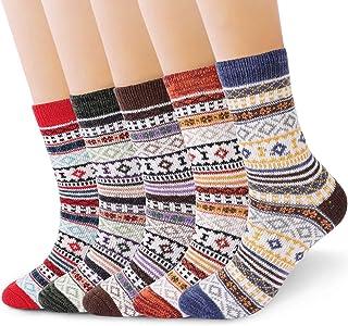 RenFox - Calcetines de invierno para mujer, 5 pares de calcetines cálidos para mujer, de algodón, talla única, transpirabl...
