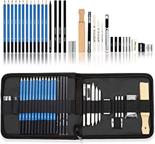کیت هنری حرفه ای Love Art 33pcs - ست مداد طراحی و نقاشی در کیف حمل زیپ دار - لوازم هنری شامل مداد طراحی و ذغال ، مداد گرافیت ، پاک کن ، چوب ذغال - مشکی