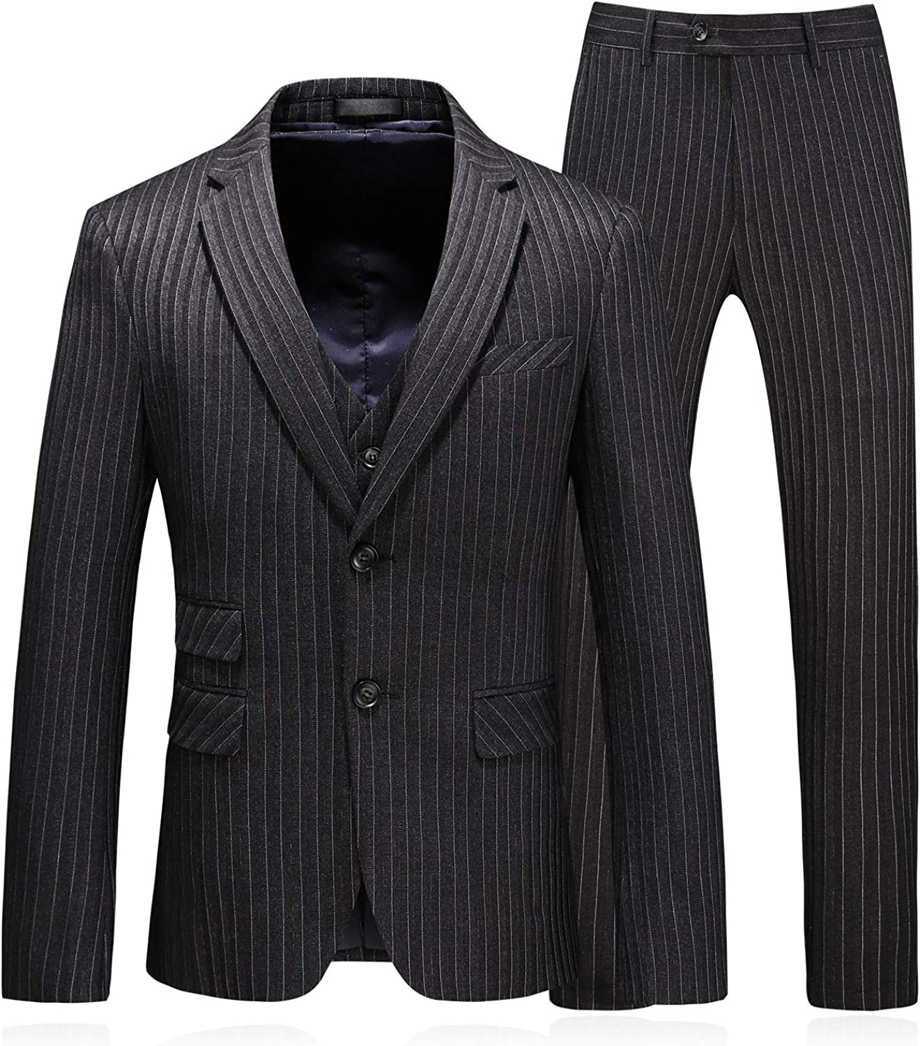 MOGU Mens Pinstripe Slim Fit 3 Piece Casual Dress Suits for Prom