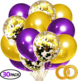 Grier Gold Purple Party Latex Balloon Set,Wedding Reception Celebration Birthday Party Graduation Event Decorations,30pcs Pack