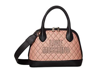 LOVE Moschino Stitched Love Bag (Powder PU/Black PU) Handbags