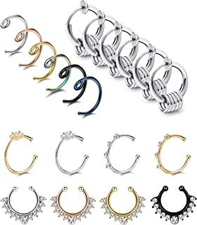 LOLIAS 20Pcs 20G Stainless Steel Fake Septum Ring Nose Hoop Ring Faux Lip Ear Non-Pierced Clip On Piercing Jewelry