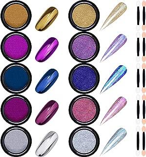 Duufin 10 Jars Nail Powder Chrome Nail Art Powder Mirror Effect Powder Holographic Laser Powder Manicure Pigment with 10 Pcs Eyeshadow Sticks