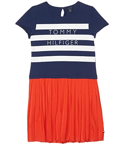 Tommy Hilfiger Kids Pleated Knit Top Striped Dress (Big Kids) (Fiery Red) Girl