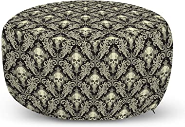 Lunarable Skull Ottoman Pouf, Skulls with Floral Curly Details Antique Victorian Design Gothic Elements, Decorative Soft Foot
