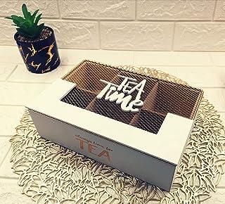 صندوق تخزين شاي، مستطيل خشبي بغطاء حديد ذهبي مزين بعبارة كوفي تايم 6 مساحات تخزين مقسمة بالتساوي، ابيض