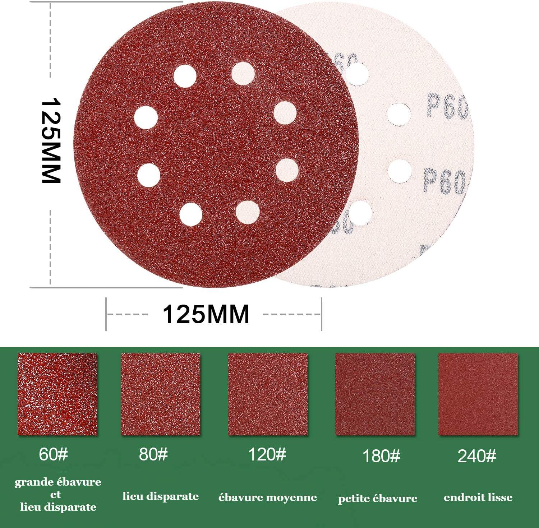 Disco de lijado 120 unidades, papel de lija para lijadora exc/éntrica, di/ámetro 125 mm, discos abrasivos de 24 x P60//80//120//180//240 TecCPO