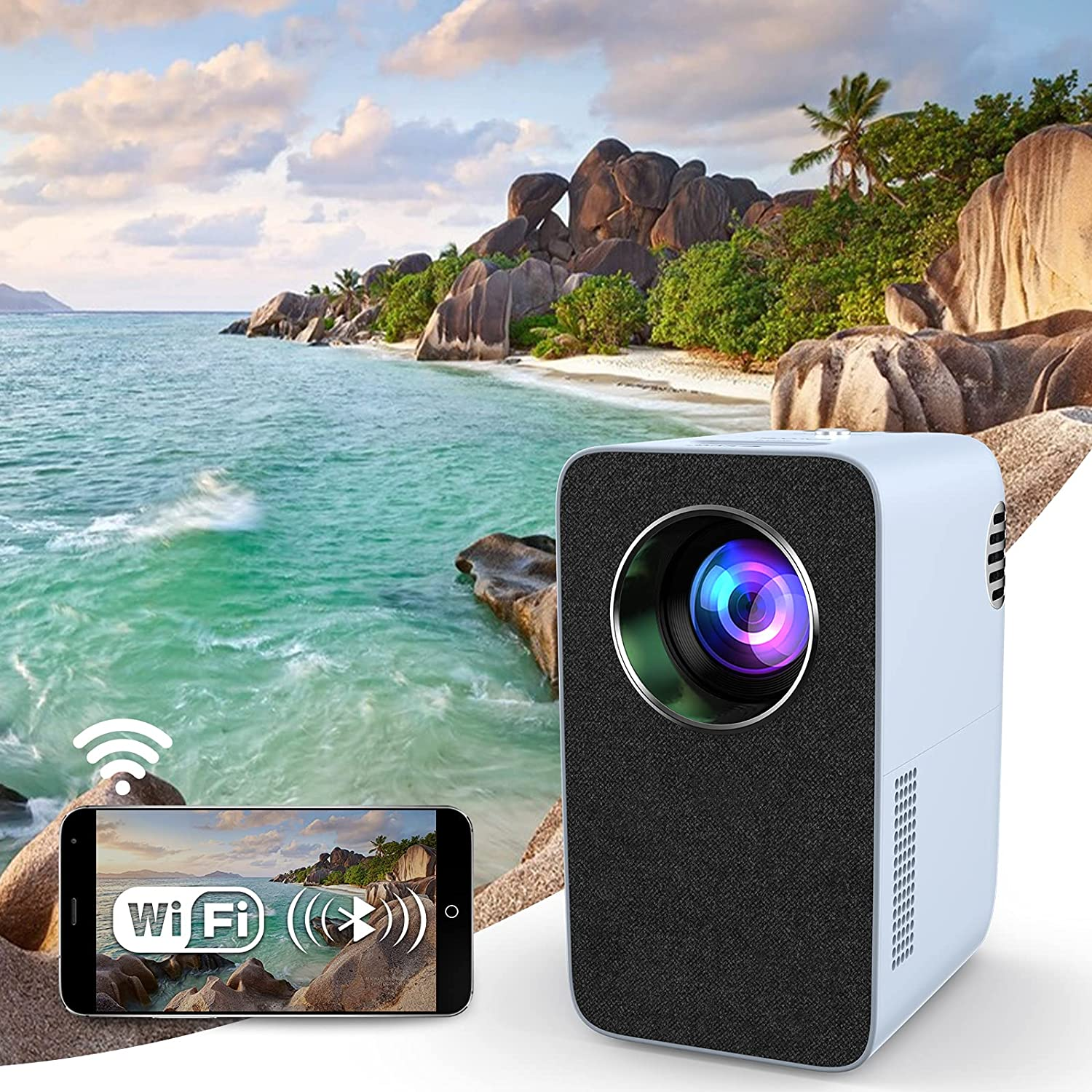 Native 1080P WiFi Projector with Bluetooth Speaker for Outdoor Movie, Full HD 150 Inch Display Home Theater Gaming Projector Wireless Screen Mirror for Smart Phone TV Stick PS4 X-Box Laptop HDMI USB
