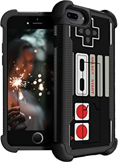 MINITURTLE Compatible with Apple iPhone 7 Plus | iPhone 7s Plus Case [Shockwave Armor] Heavy Duty Hybrid Layer Stand Case Retro Controller