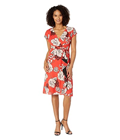 Adrianna Papell Faux Wrap Paisley Floral Dress with Drape (Red Multi) Women