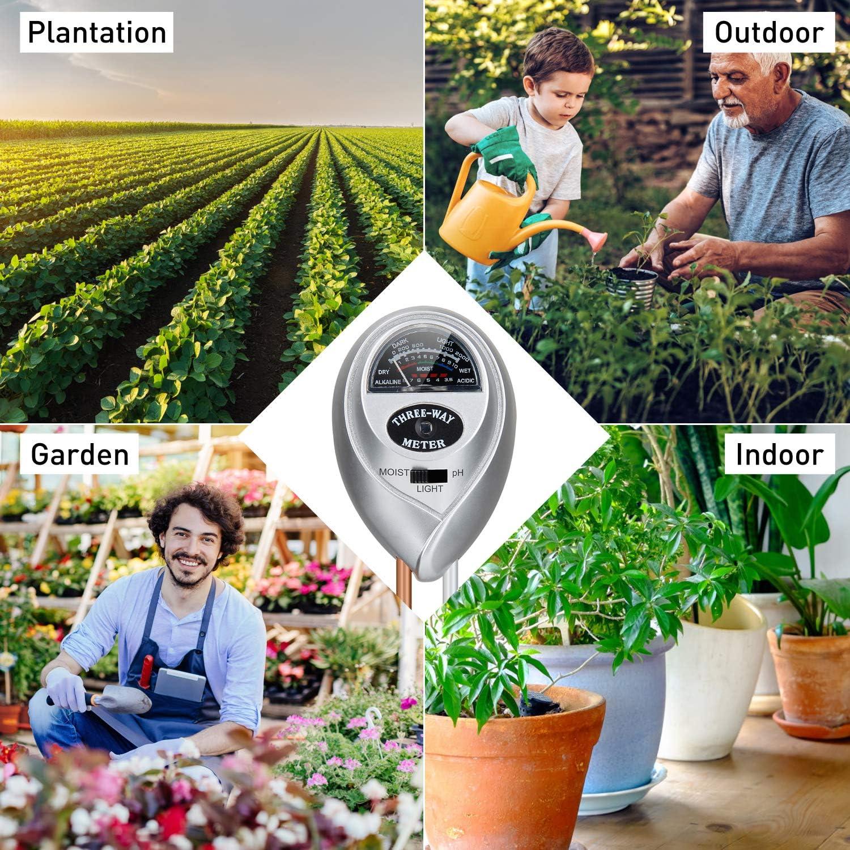 Sensor de Humedad del Suelo Medidor 3 en 1 Medidor de Humedad de Plantas luz y pH de acidez Herramienta para flores plantas jard/ín granja No Necesita Bater/ía Migimi Probador de Suelo Verde Oscuro