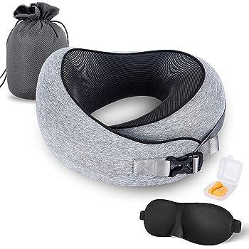 MZYSKJ Travel Pillow 100% Pure Memory Foam Neck Pillow, Comfortable & Breathable Cover, Ergonomic Design Ultra Soft Full Neck Chin Support Adjustable, 3D Contoured Sleep Mask, Earplugs, Standard, Grey