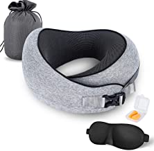 VISHNYA MZYSKJ Travel Pillow 100% Pure Memory Foam Neck Pillow, Comfortable & Breathable Cover,Ergonomic Design Ultra Soft Full Neck Chin Support Adjustable, 3D Contoured Sleep Mask, Earplugs, Gray, N/A, Memory Foam Travel Pillow, Grey, Standard