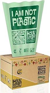 HOLY SCRAP! 100% Compostable Trash Bags, 6-8 Gallon, 30L, 100 Count, Heavy Duty 0.85 Mils, Medium Home Garb...