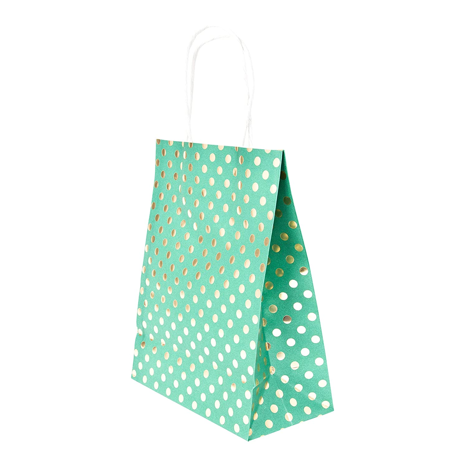 Medium Size Gift Bags with Handles Green Kraft Paper with Metallic Gold Foil Polka Dot Hot Stamp for Christmas Holiday, Birthday Party, Wedding, Baby and Bridal Shower 8 x 10 Bulk Pack (Set of 10)