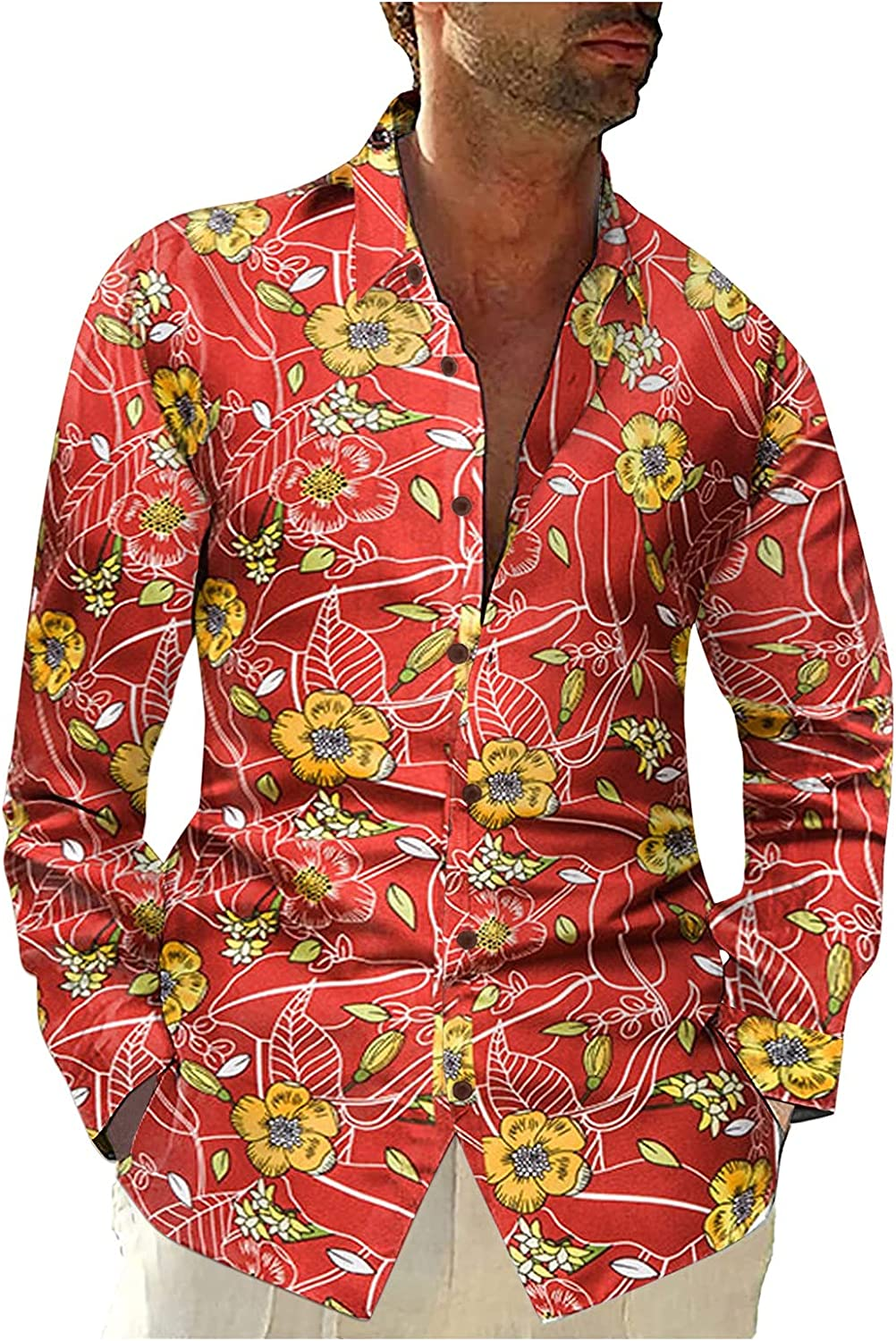 LIEIKIC Men's Floral Printed Long Sleeve Casual Button Down Slim Fit Hawaiian Shirts