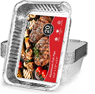 [20 Pack] Aluminum Pans, 10.2in x 7.5in Heavy Duty Tin Foil Pans, Disposable Casserole Pans Mini Loaf Pans for Baking Cook...