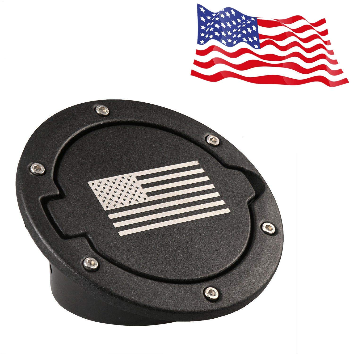 Soosee Steel Gas Fuel Tank Cap Cover for Jeep Wrangler JK JKU Unlimited Rubicon Sahara X Off Road Sport Exterior Accessories Parts 2007-2017