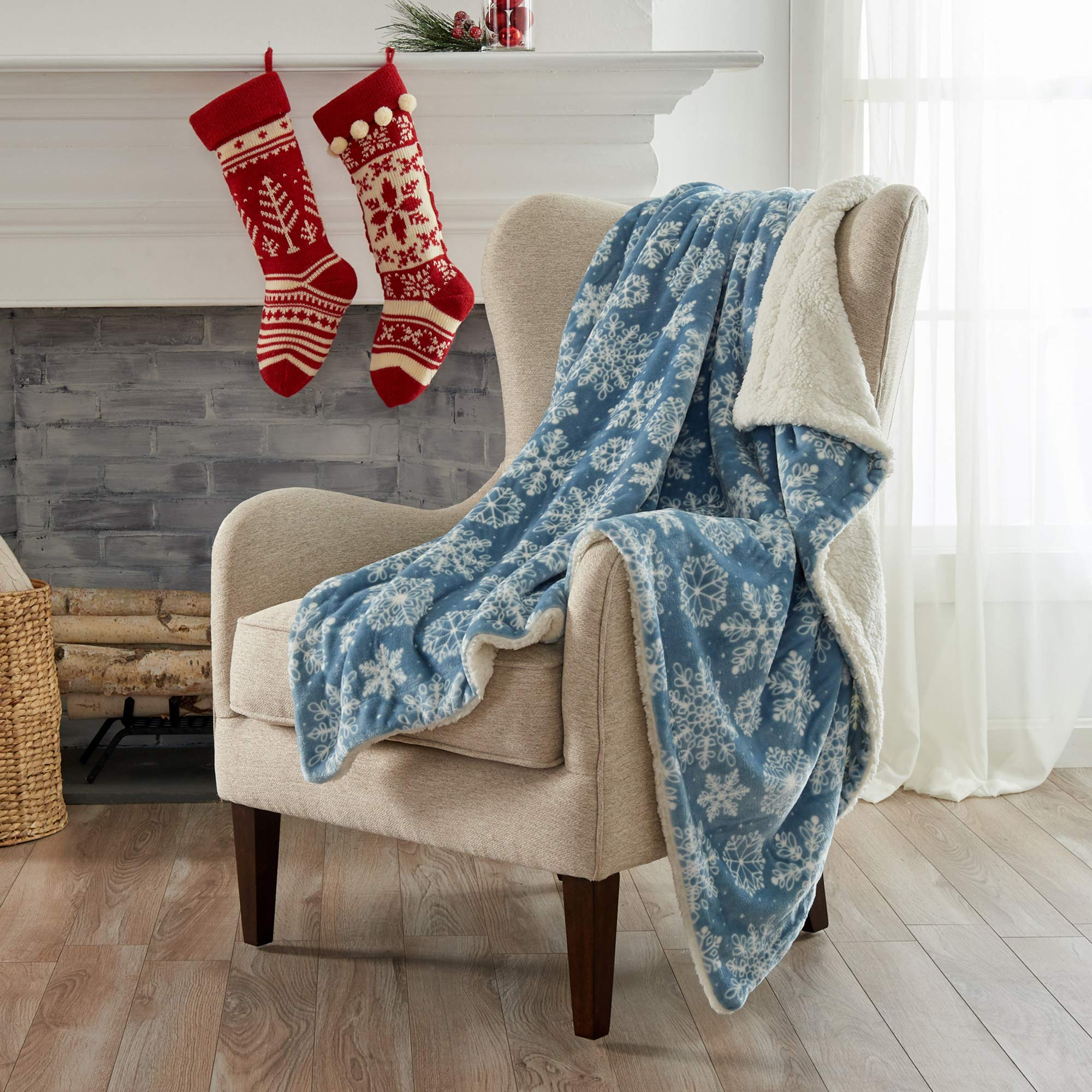 Home Fashion Designs Premium Reversible Two In One Sherpa And Fleece Velvet Plush Blanket Fuzzy Cozy All Season Berber Fleece Throw Blanket Snowflakes Buy Online In Bahrain Missing Category Value Products In Bahrain