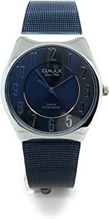 ساعة Omax للرجال مقاومة للماء نحيفة مستديرة أنيقة بلون أزرق داكن بسوار معدني شبكي