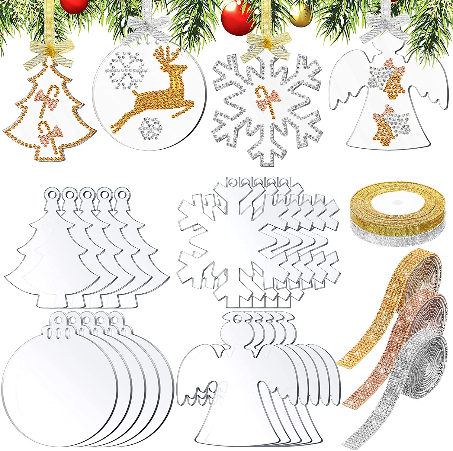 20 Pieces 3 Inch Acrylic Ornaments Blanks Christmas Ornaments Christmas Decor3 Rhinestone Adhesive Rhinestone Strips 2 Gold Silver Satin Ribbons for Christmas Tree Decoration Home Party Supplies
