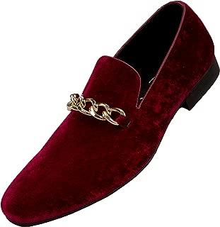 Amali Fay Velvet Men's Slip-On Shoes with Gold Chain Ornament Dress Shoes for Men Velvet Formal Loafers for Men The Original Smoking Men Tuxedo Dress Shoes