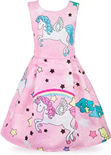 Wocau Little Girls Stars Unicorn Rainbow Dress Pageant Pleated Dress