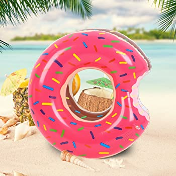 Buringer 2 PCS Donut Pool Float with Hand Pump,Inflatable Swimming Ring 60CM for Boys and Girls(Strawberry & Chocolate)