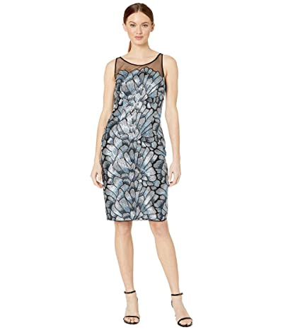 Adrianna Papell Sequin Embroidered Sheath Dress (Silver/Blue Multi) Women